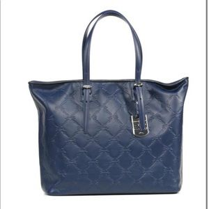 LONGCHAMP LM CUIR LARGE NAVY LEATHER TOTE